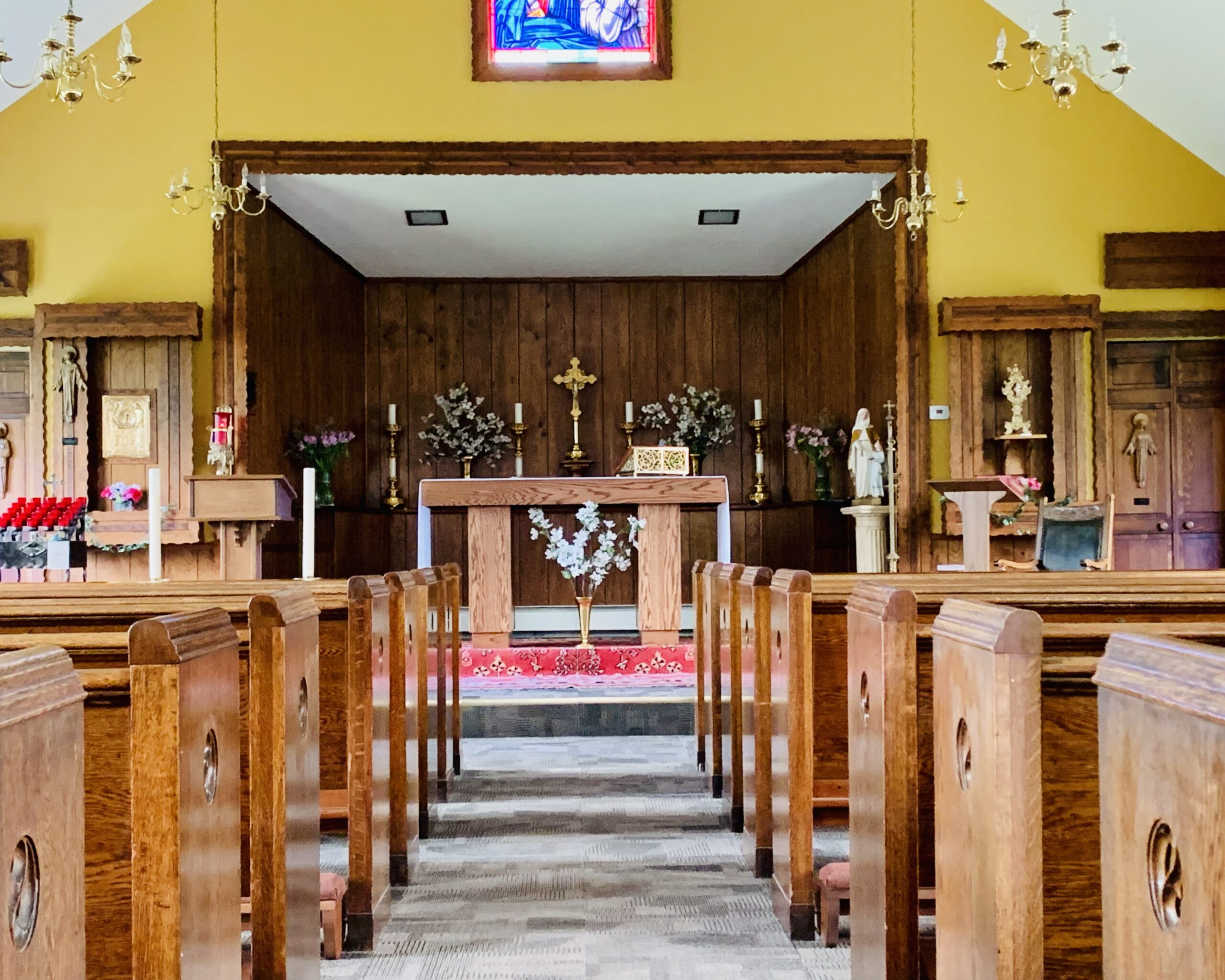 pews and altar at st. anne's church