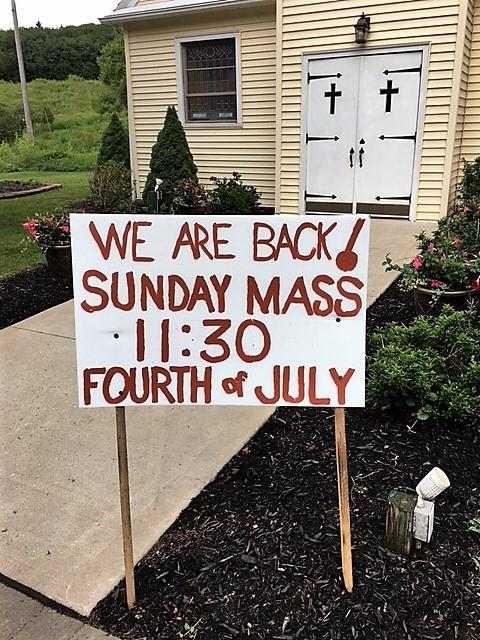 we are back! sunday mass 11:30 fourth of july